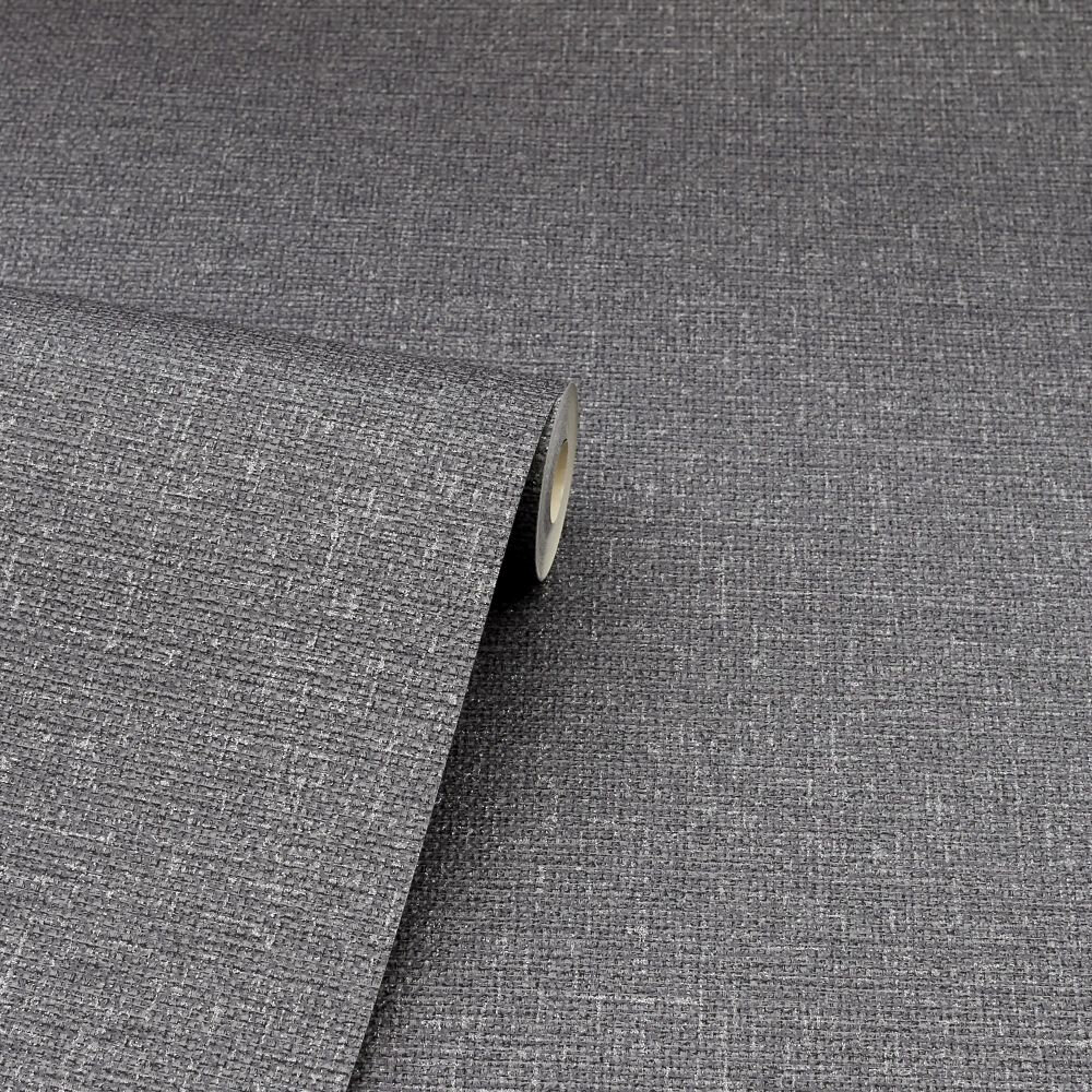 Calico Plain Wallpaper - Gunmetal - by Arthouse