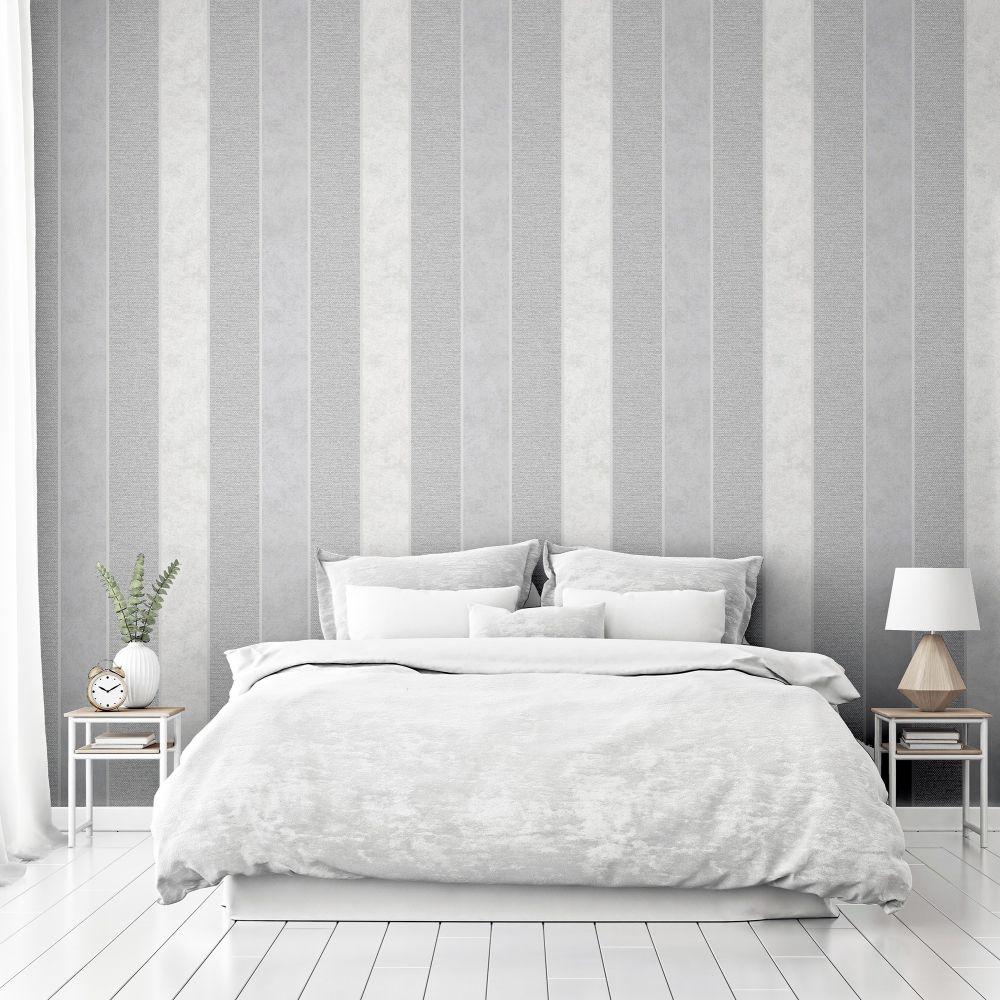 Calico Stripe Wallpaper - Grey - by Arthouse
