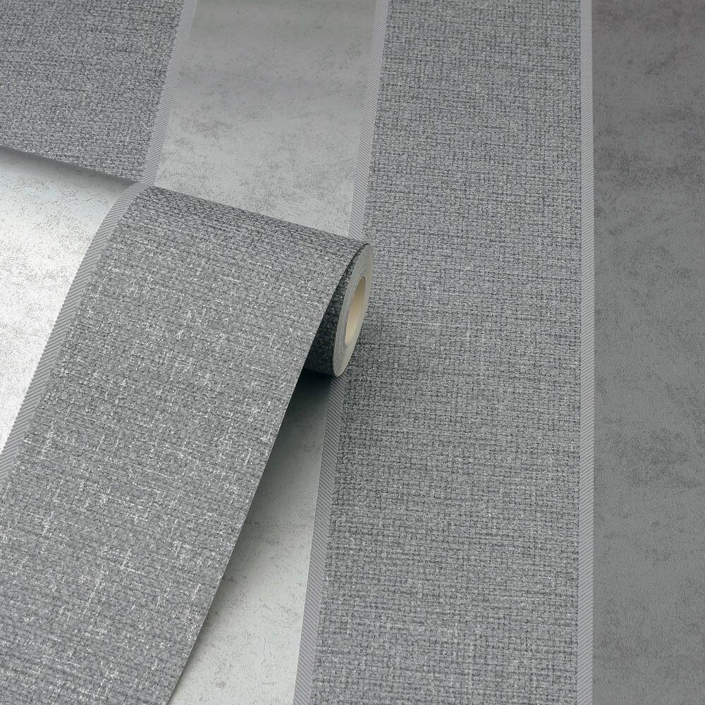 Calico Stripe Wallpaper - Gunmetal - by Arthouse