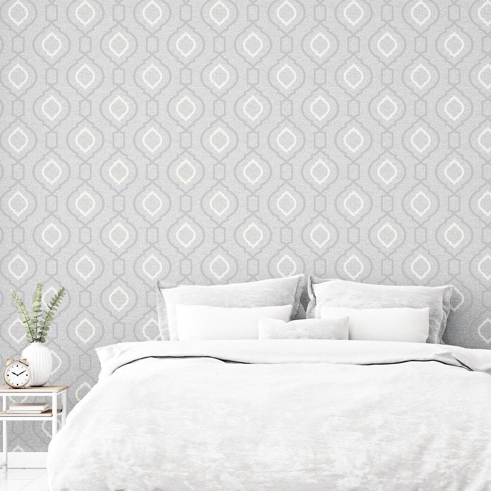 Calico Trellis Wallpaper - Grey - by Arthouse