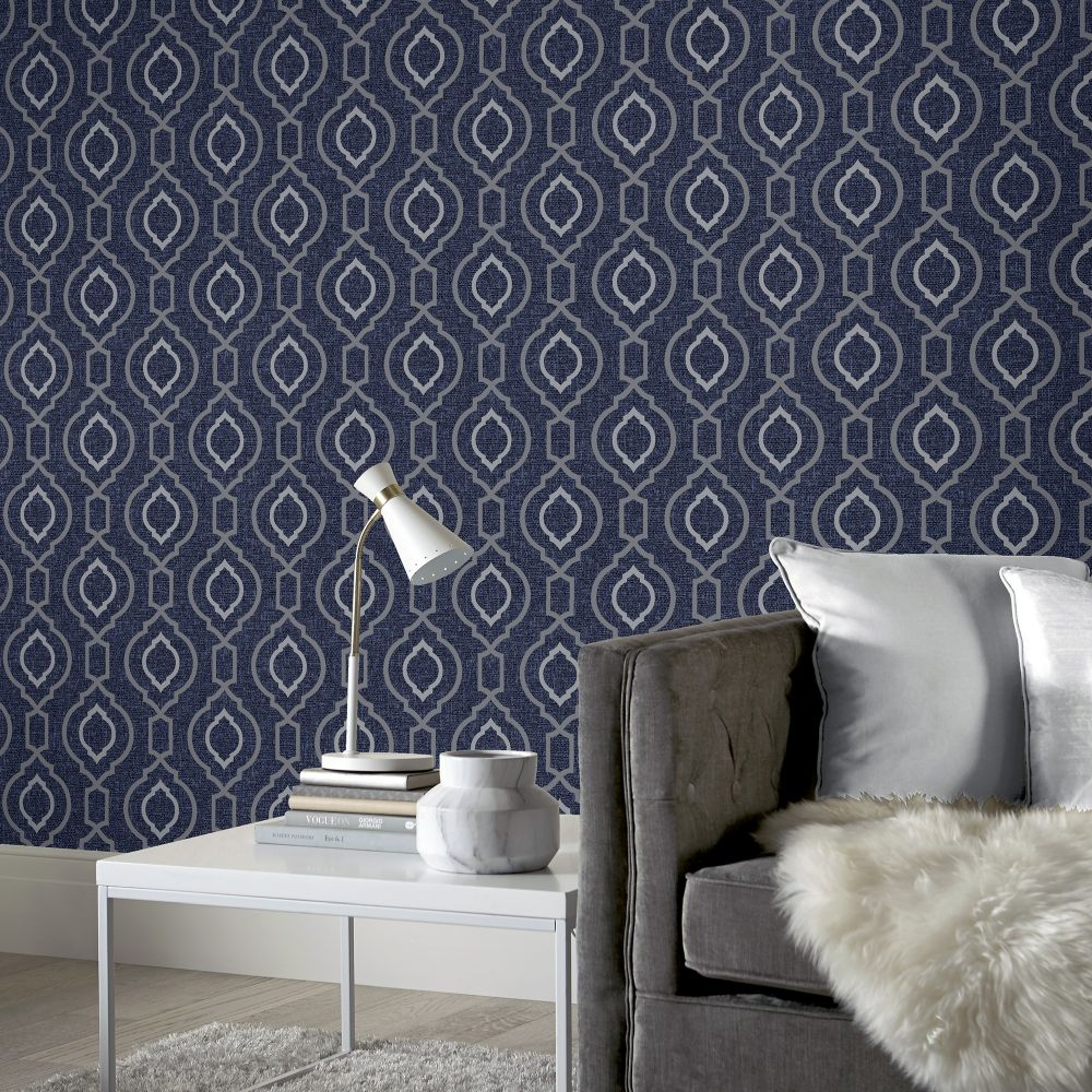 Calico Trellis Wallpaper - Navy - by Arthouse