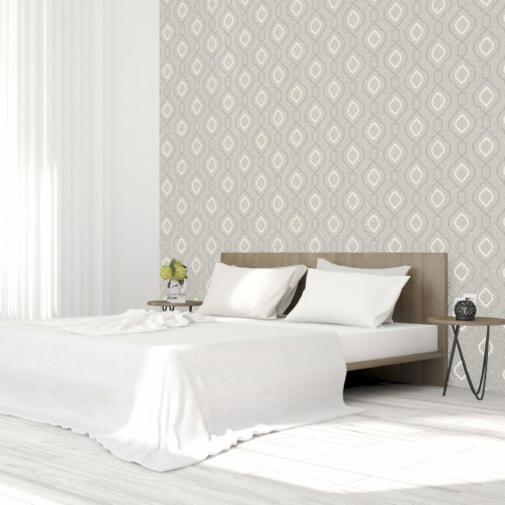 Calico Trellis Wallpaper - Neutral - by Arthouse