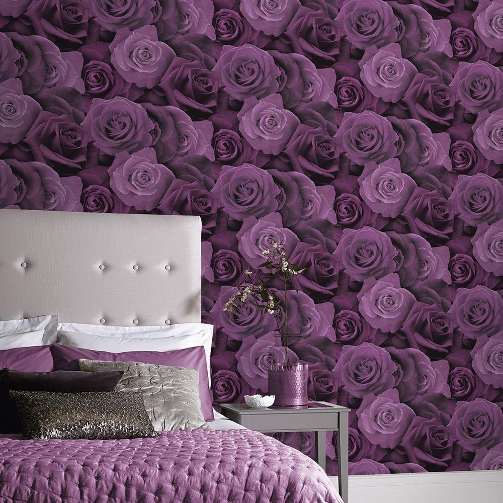 Austin Rose Wallpaper - Purple - by Arthouse