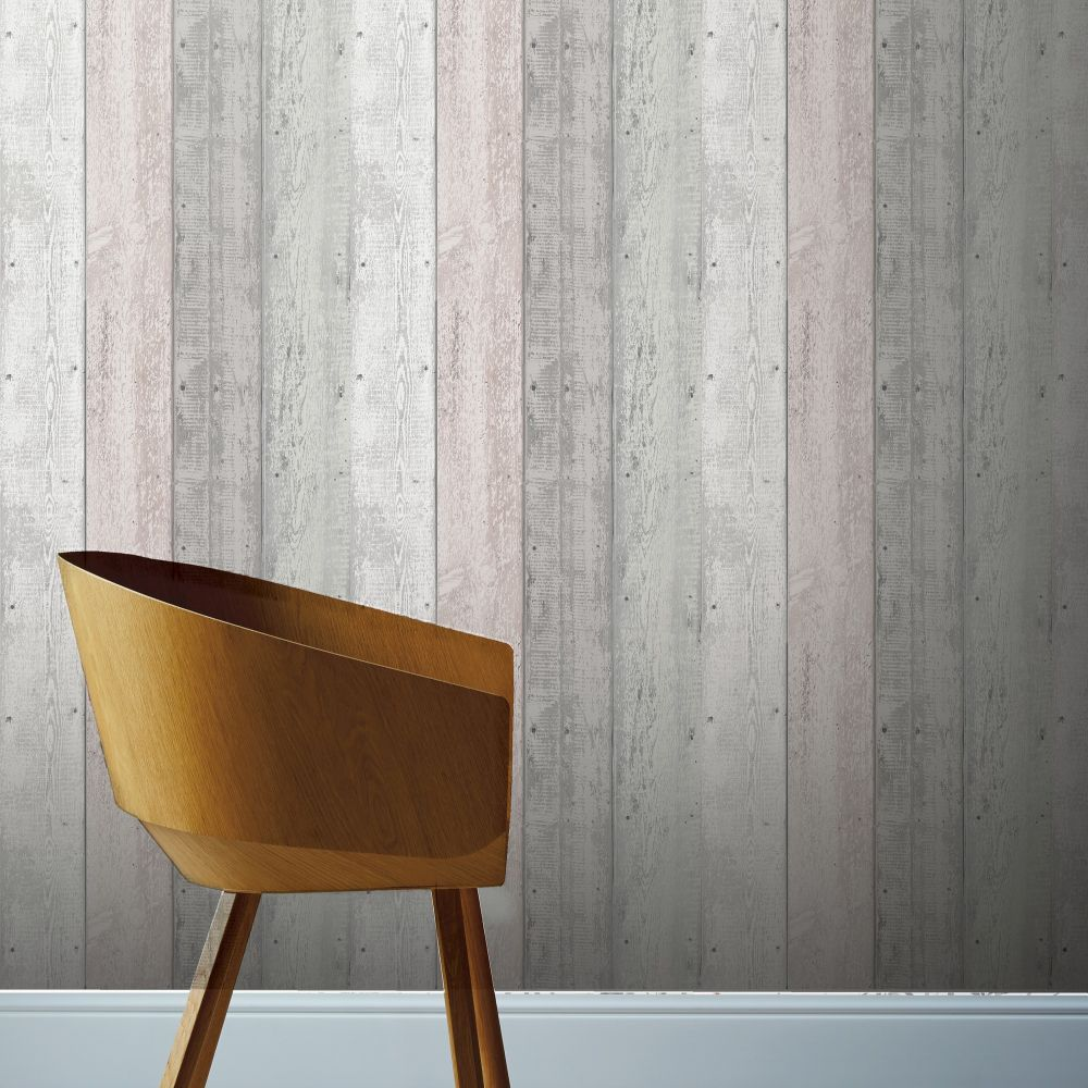Painted Wood Wallpaper - Pink / Grey  - by Arthouse