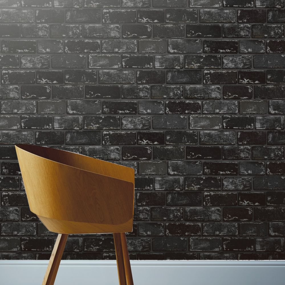 Metallic Brick Wallpaper - Black / Silver - by Arthouse
