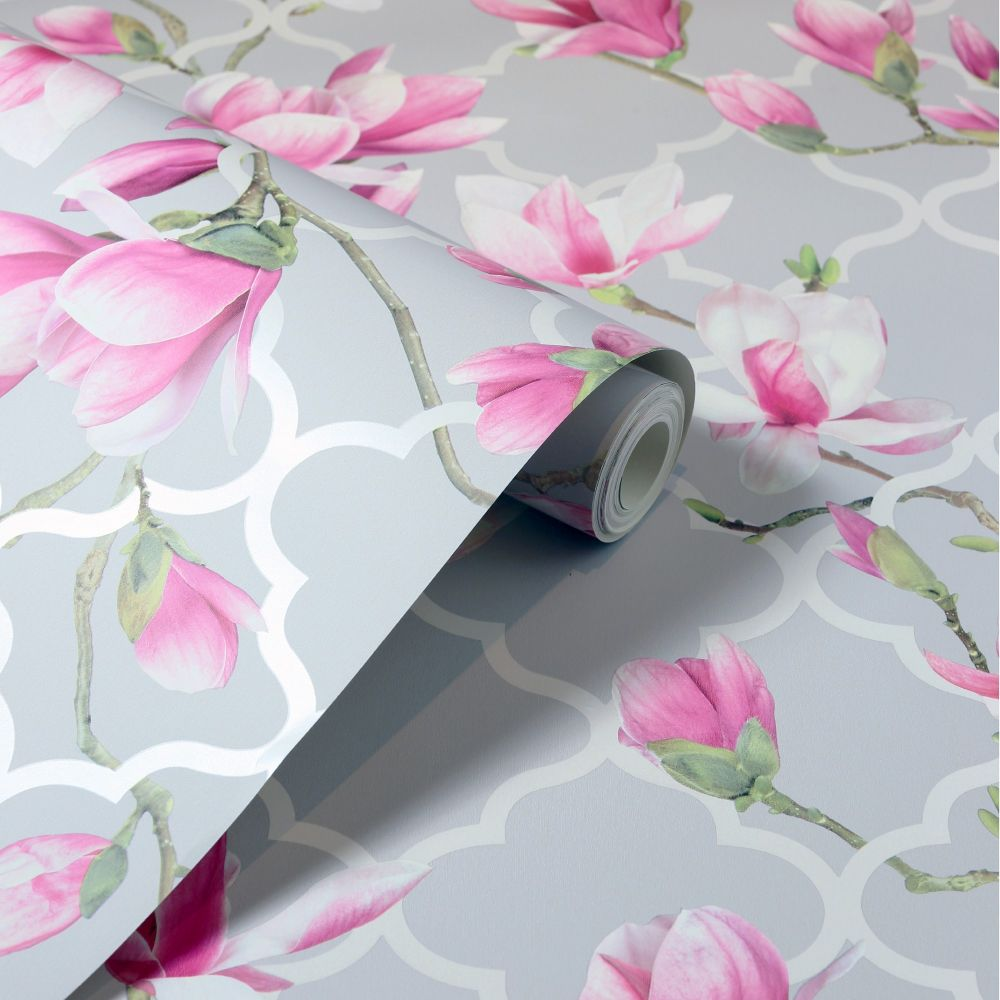 Magnolia Trellis Wallpaper - Grey / Pink  - by Arthouse