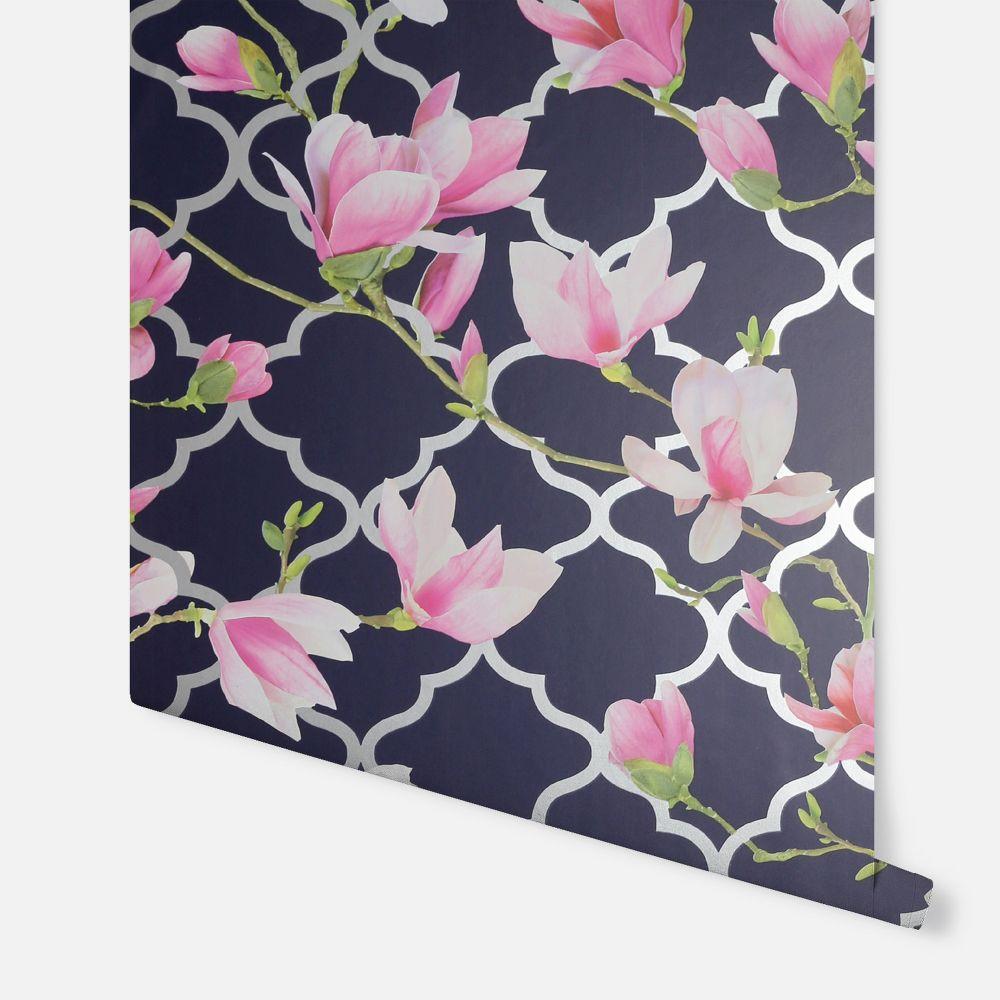 Magnolia Trellis Wallpaper - Navy - by Arthouse