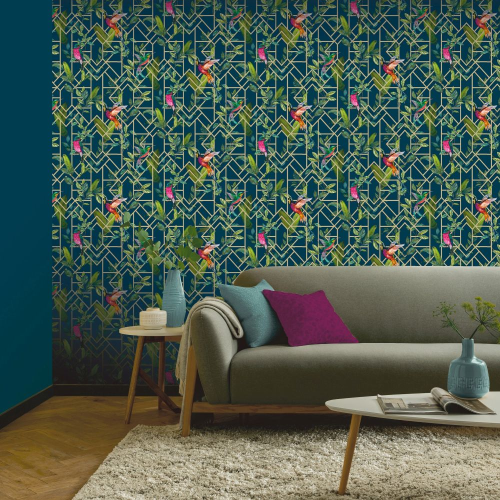 Deco Tropical Wallpaper - Navy / Gold - by Arthouse