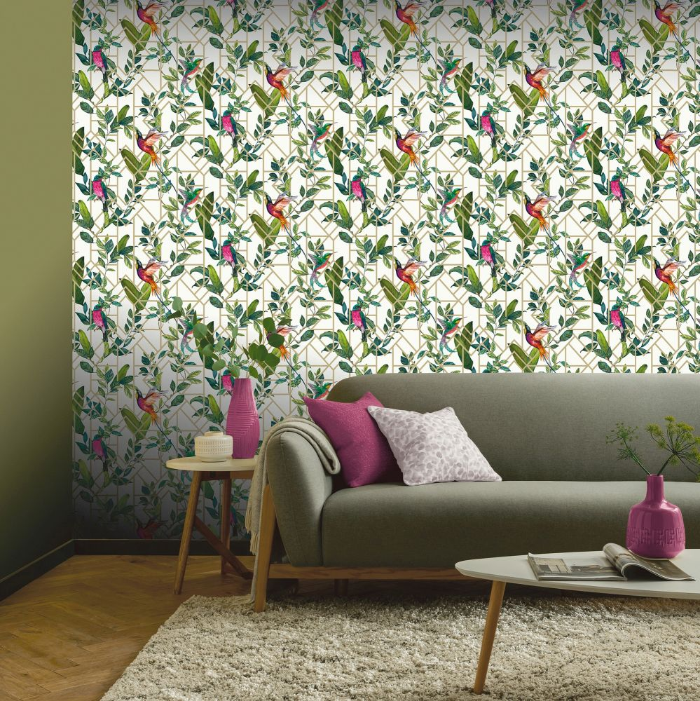 Deco Tropical Wallpaper - White / Multi - by Arthouse