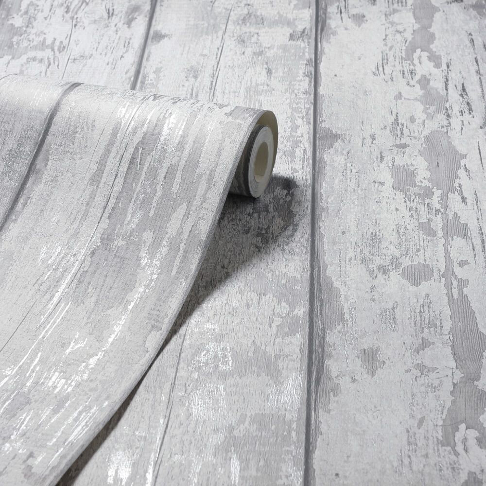 Metallic Washed Wood Wallpaper - Grey / Silver - by Arthouse