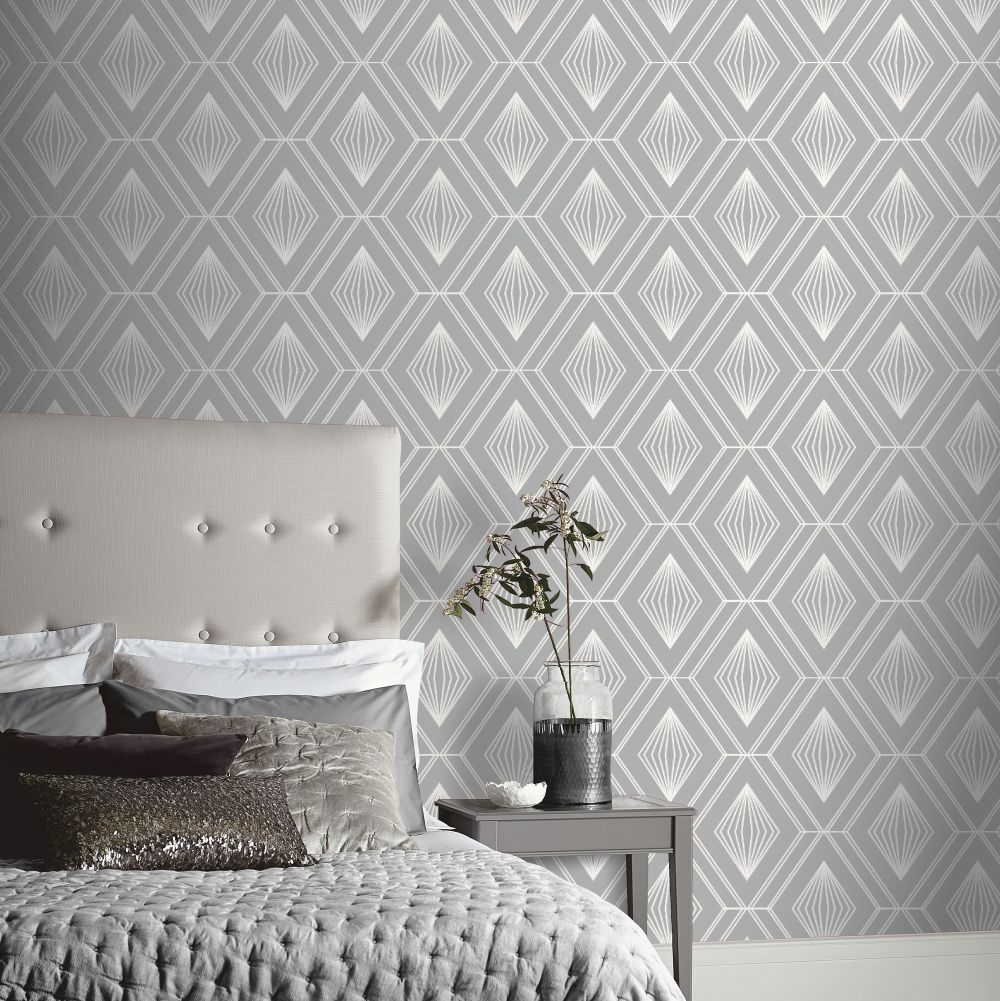 Glitter Diamond Wallpaper - Charcoal Grey - by Arthouse