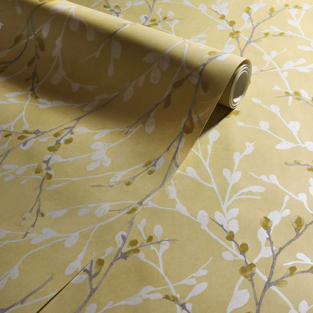 Glitter Willow Wallpaper - Ochre - by Arthouse