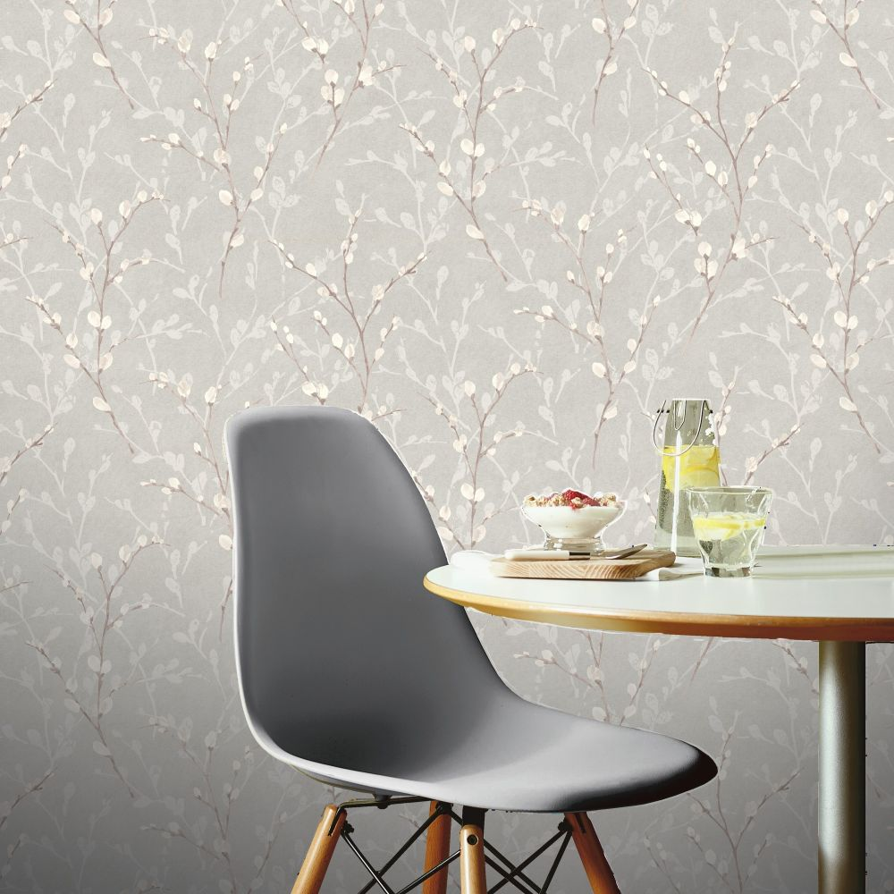 Glitter Willow Wallpaper - Silver - by Arthouse