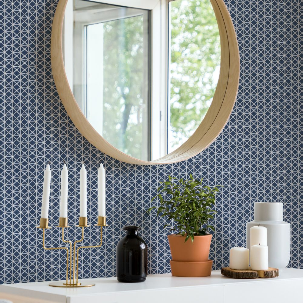 Lisbeth Wallpaper - Navy - by A Street Prints