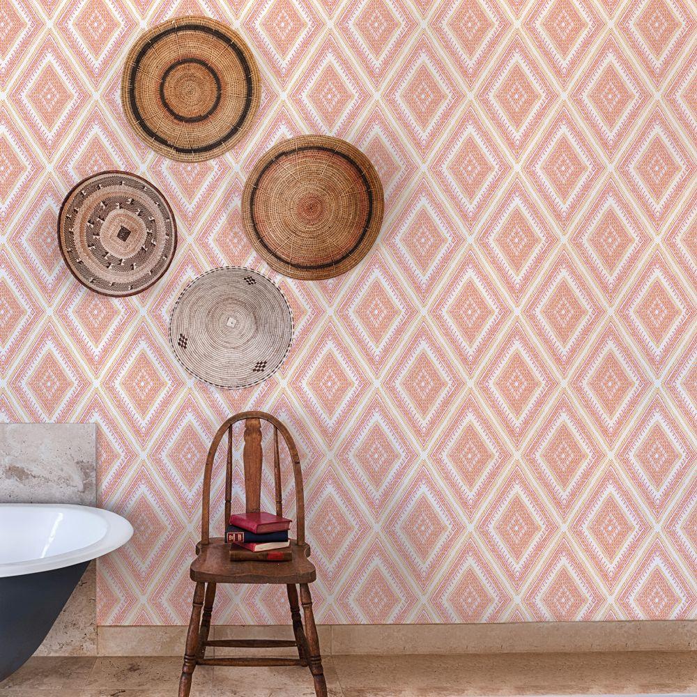Zaya Wallpaper - Pink / Orange  - by A Street Prints