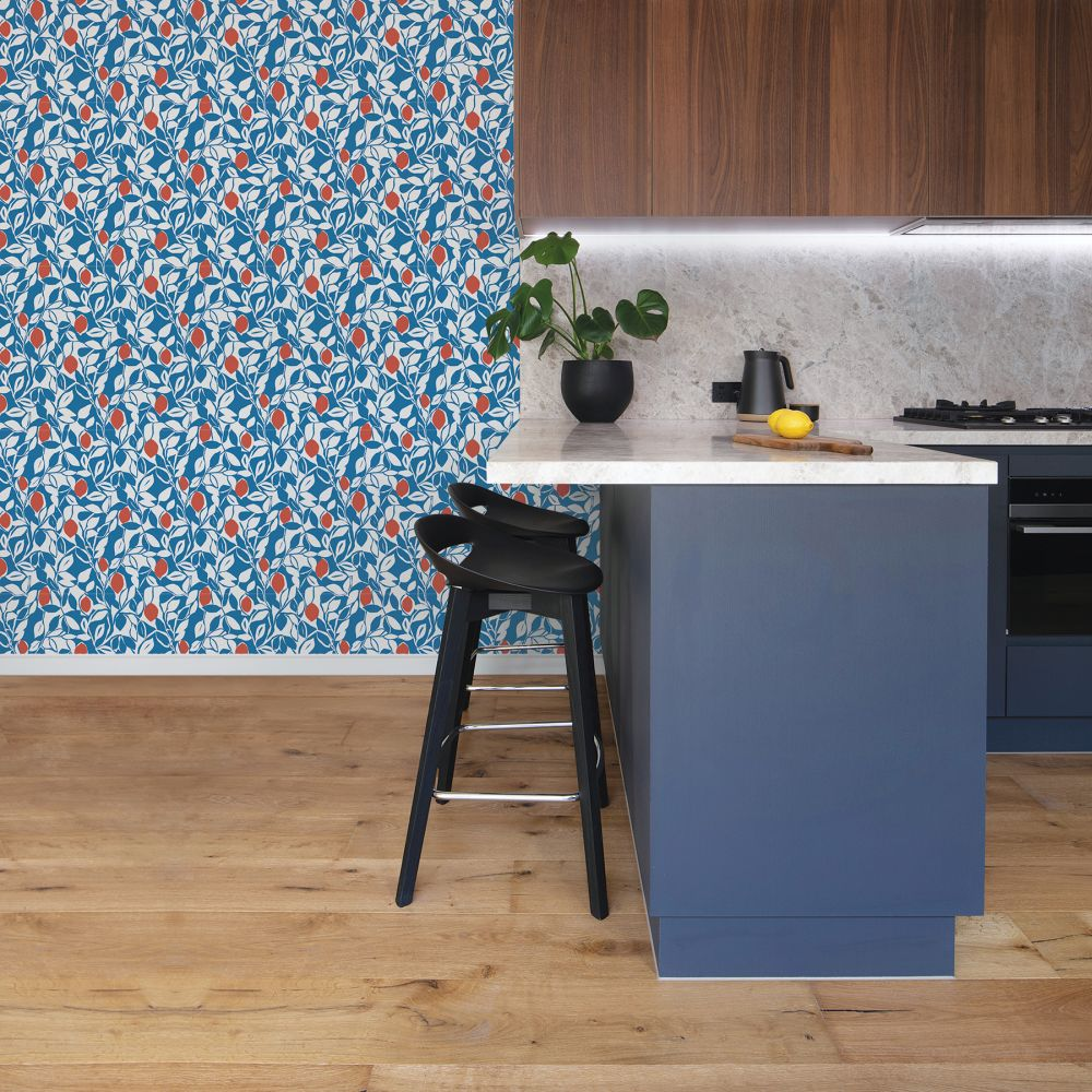 Loretto Wallpaper - Blue / Red  - by A Street Prints