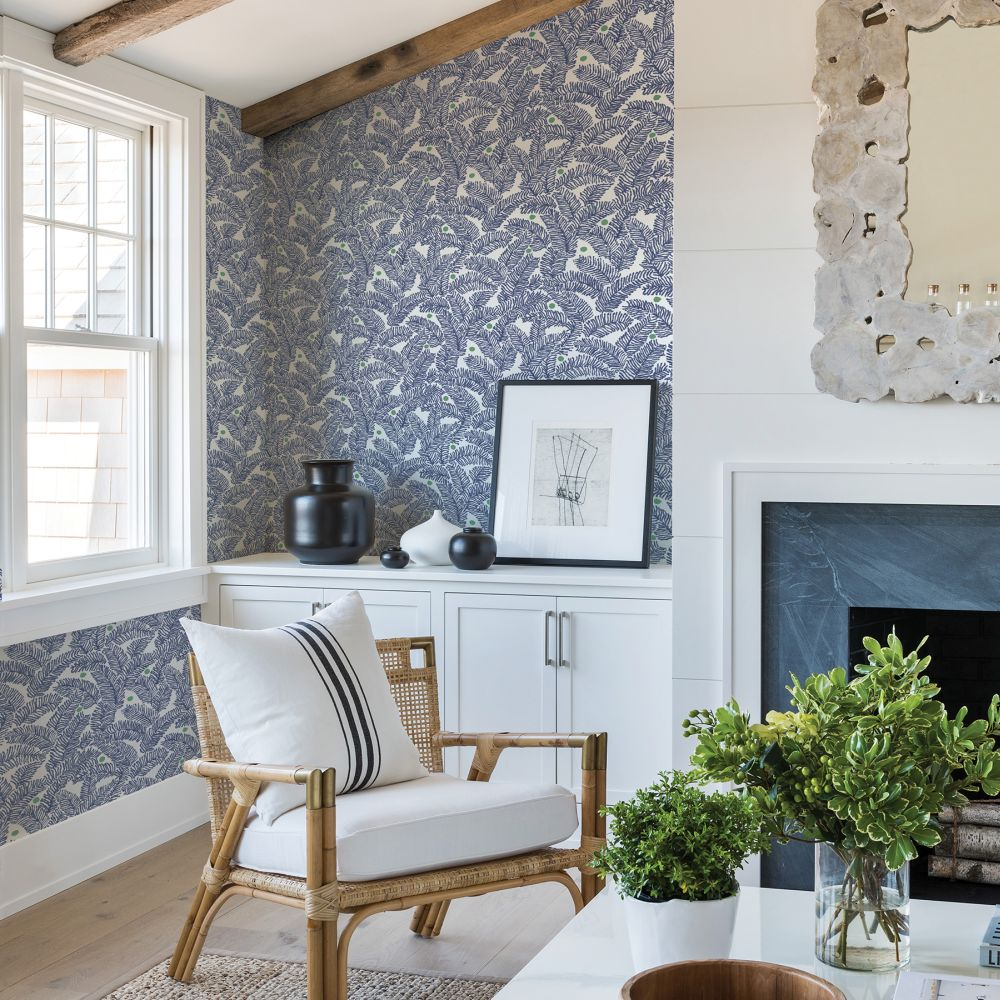 Athina  Wallpaper - Navy / Green  - by A Street Prints