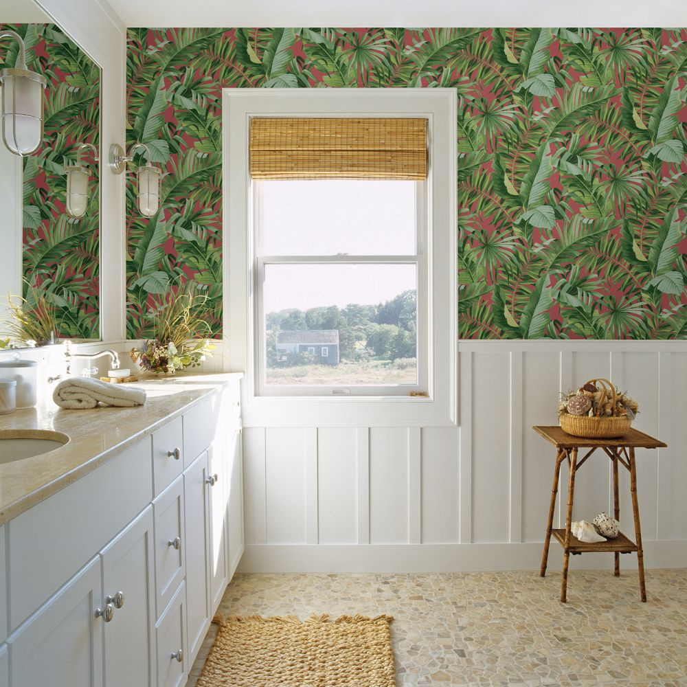 Alfresco  Wallpaper - Green / Pink  - by A Street Prints