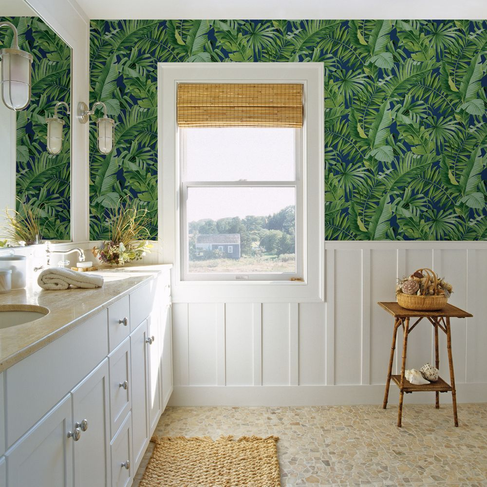 Alfresco  Wallpaper - Green / Navy  - by A Street Prints