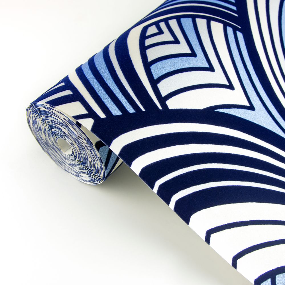 Cabarita Flock Wallpaper - Indigo - by A Street Prints