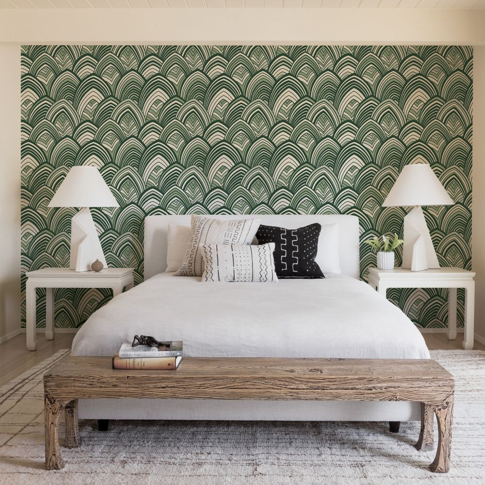 Cabarita Flock Wallpaper - Emerald - by A Street Prints