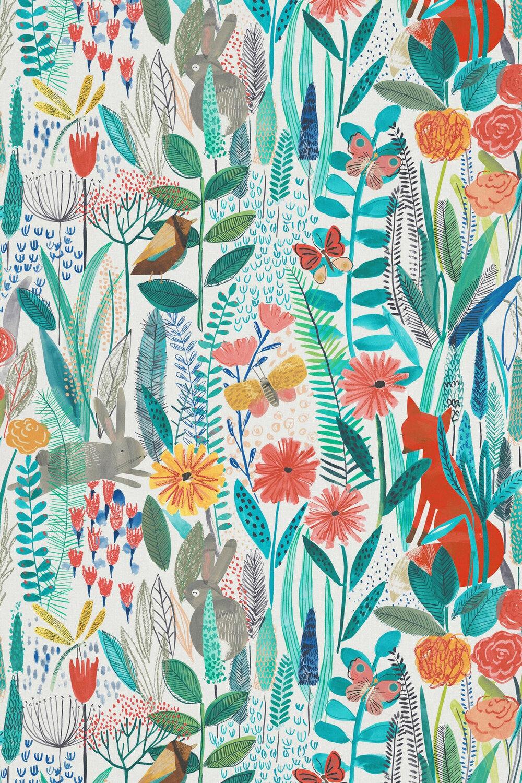 Hide and Seek Fabric - Poppy / Marine / Ochre - by Harlequin