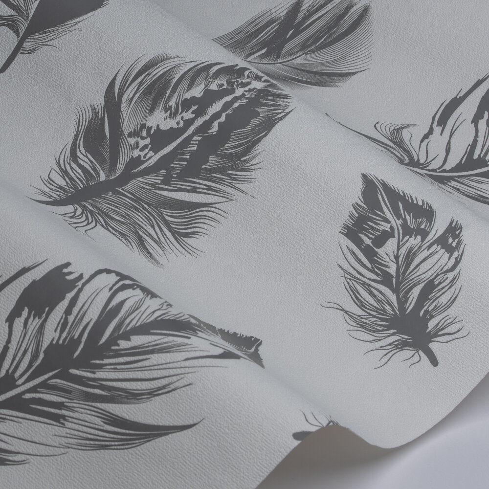 Feather Wallpaper - White / Grey - by Galerie