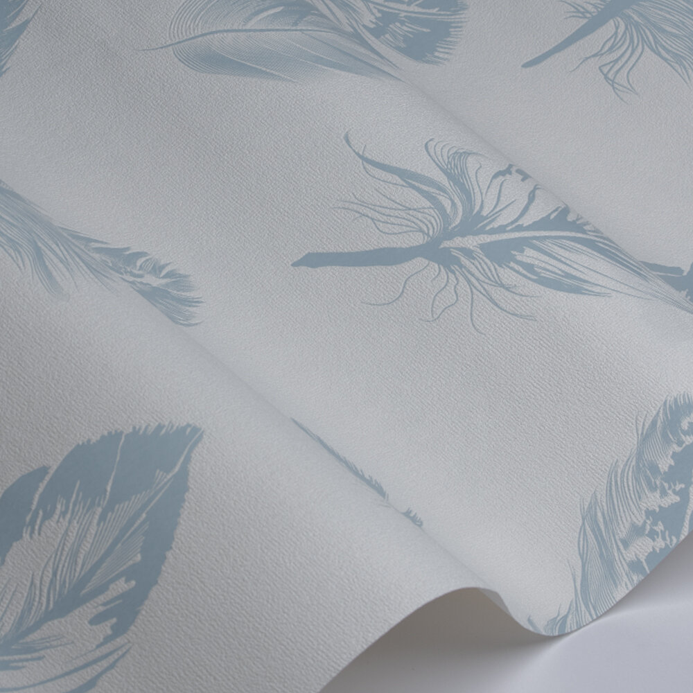 Feather  Wallpaper - White / Blue - by Galerie