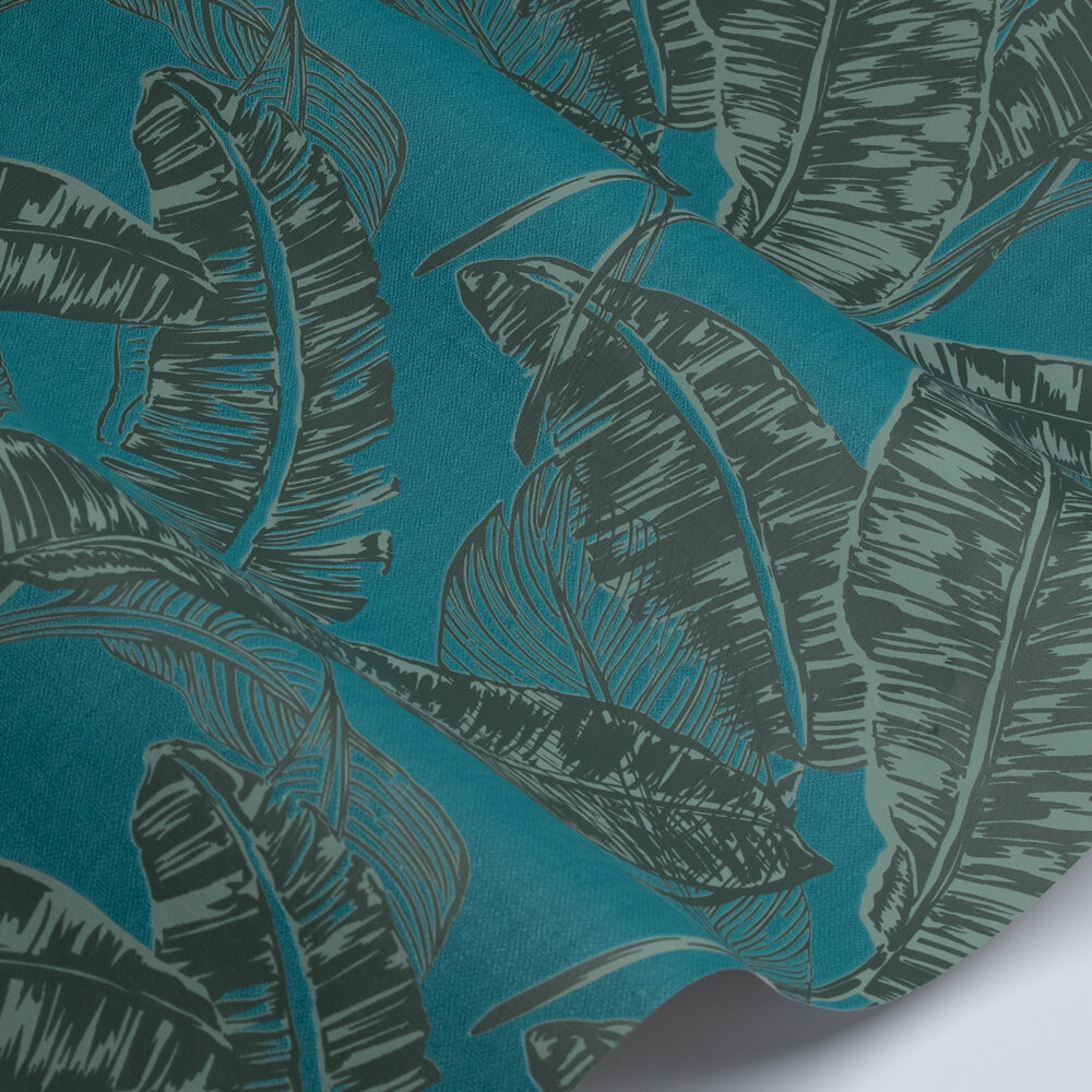 Jungle Leaf  Wallpaper - Turquoise / Green  - by Galerie