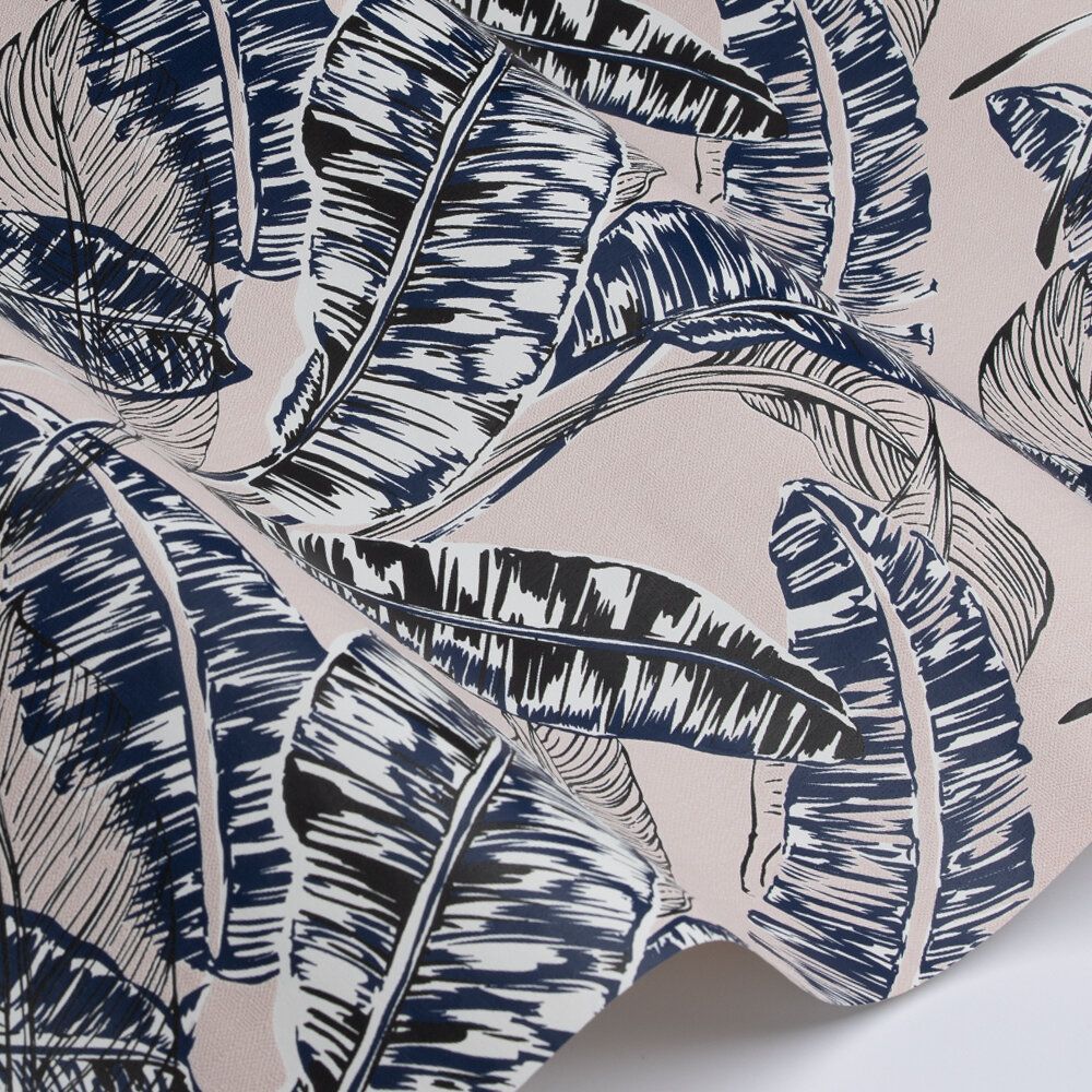 Jungle Leaf Wallpaper - Pink / Blue - by Galerie