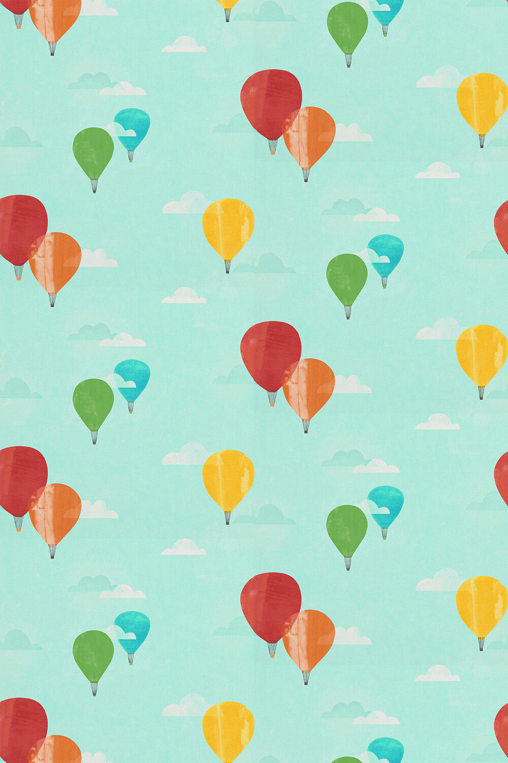 And Away We Go! Fabric - Poppy / Sky / Pineapple - by Harlequin