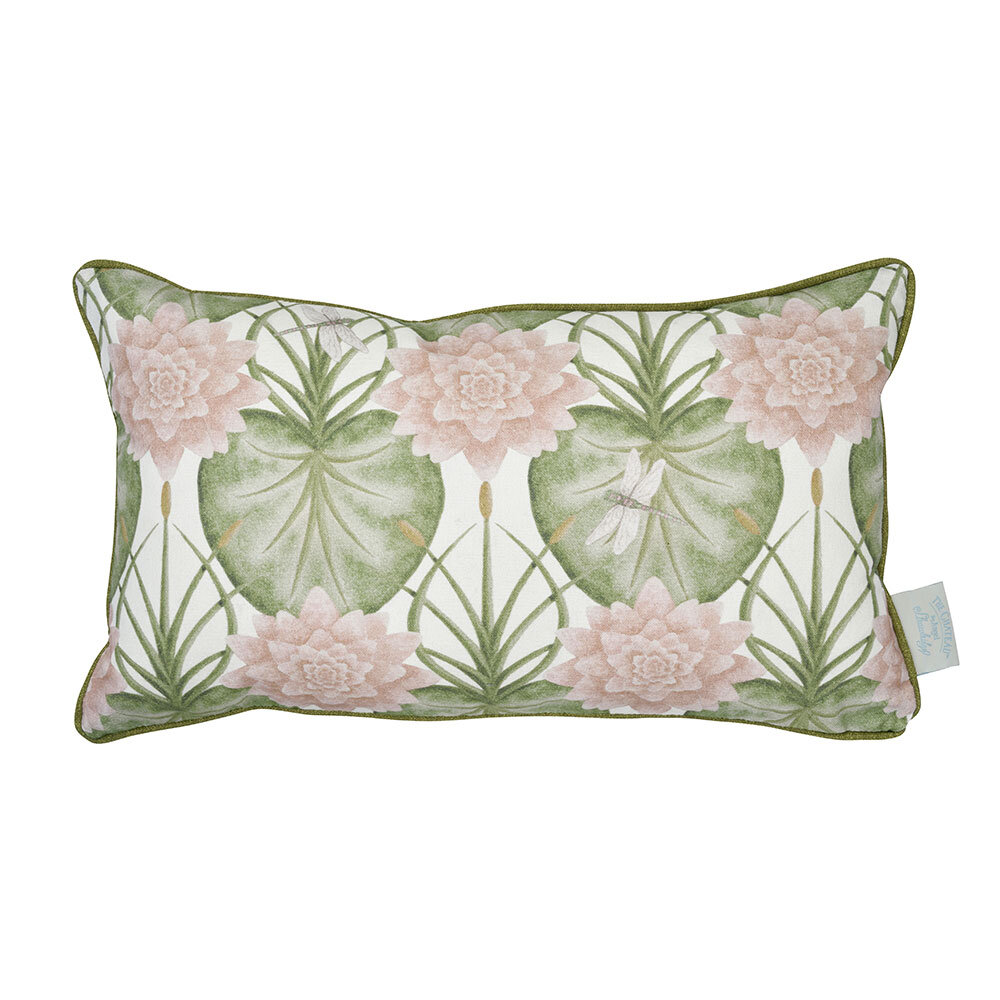 Lily Garden Rectangular Cushion - Cream - by The Chateau by Angel Strawbridge