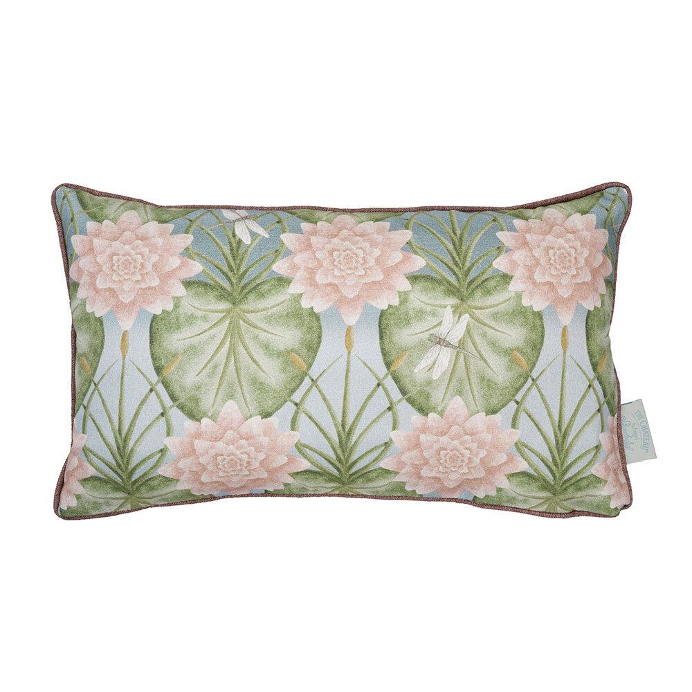 Lily Garden Rectangular Cushion - Eau De Nil - by The Chateau by Angel Strawbridge