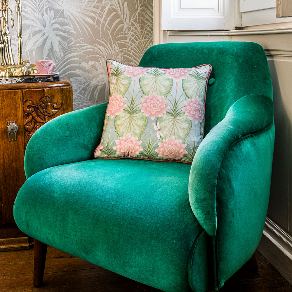 Lily Garden Square Cushion - Eau De Nil - by The Chateau by Angel Strawbridge