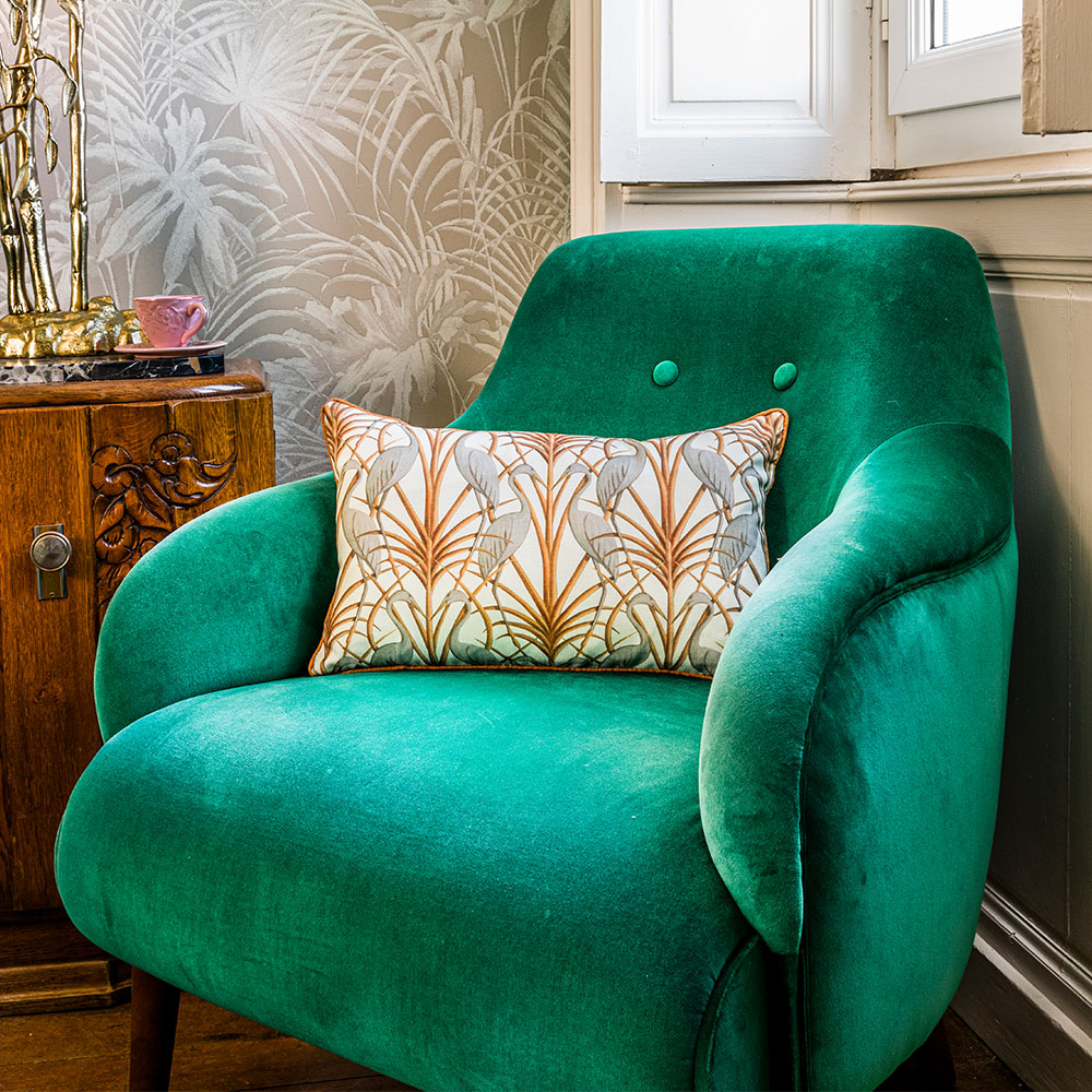 Nouveau Heron Rectangle Cushion - Cream - by The Chateau by Angel Strawbridge
