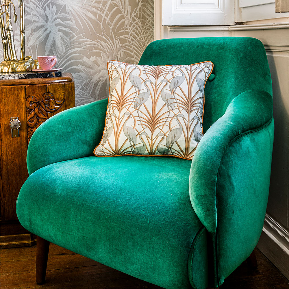 Nouveau Heron Square Cushion - Cream - by The Chateau by Angel Strawbridge