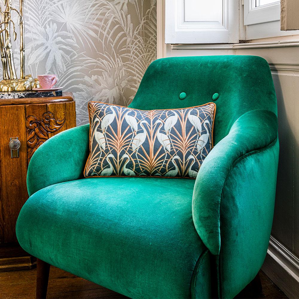 Nouveau Heron Rectangle Cushion - Navy - by The Chateau by Angel Strawbridge