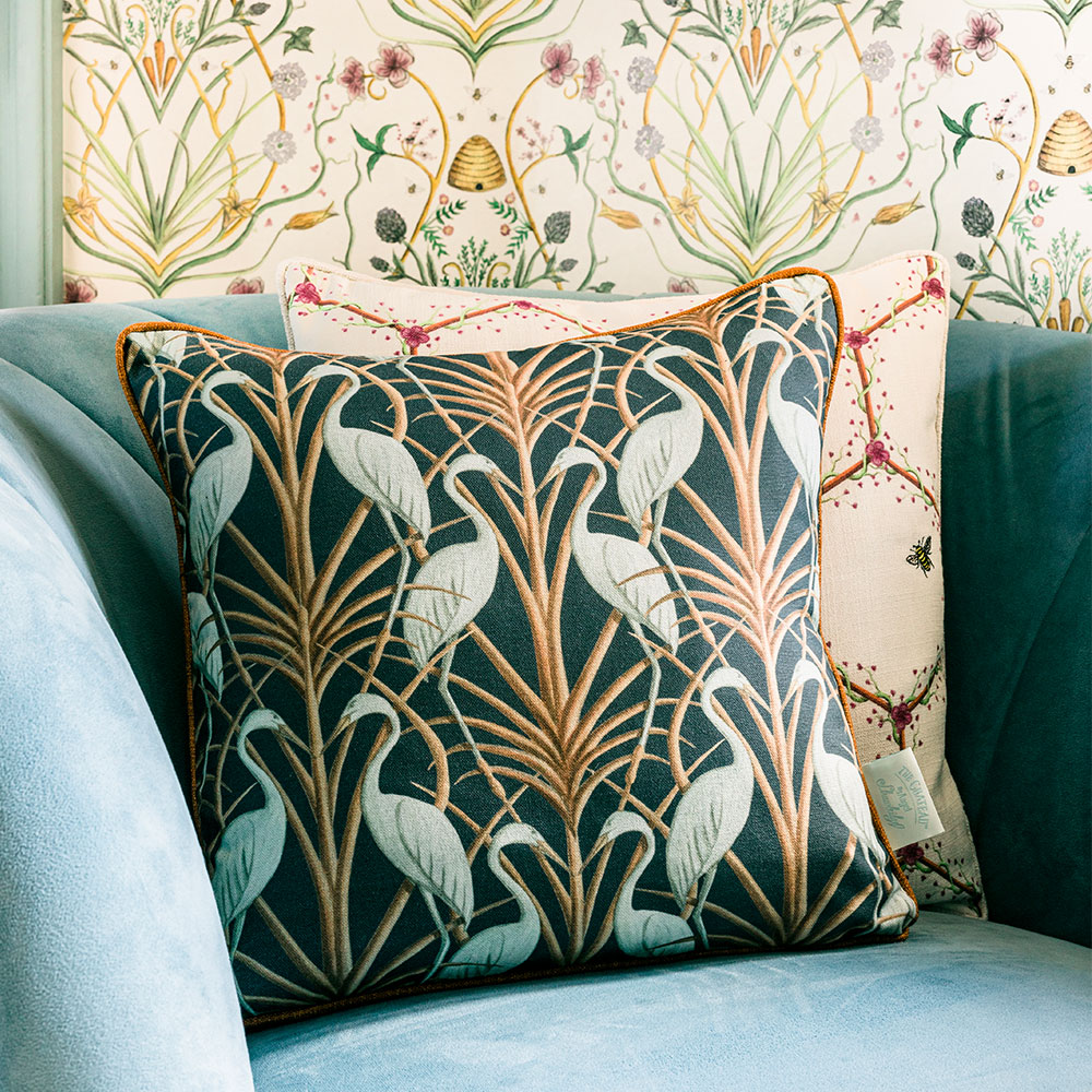 Nouveau Heron Square Cushion - Navy - by The Chateau by Angel Strawbridge