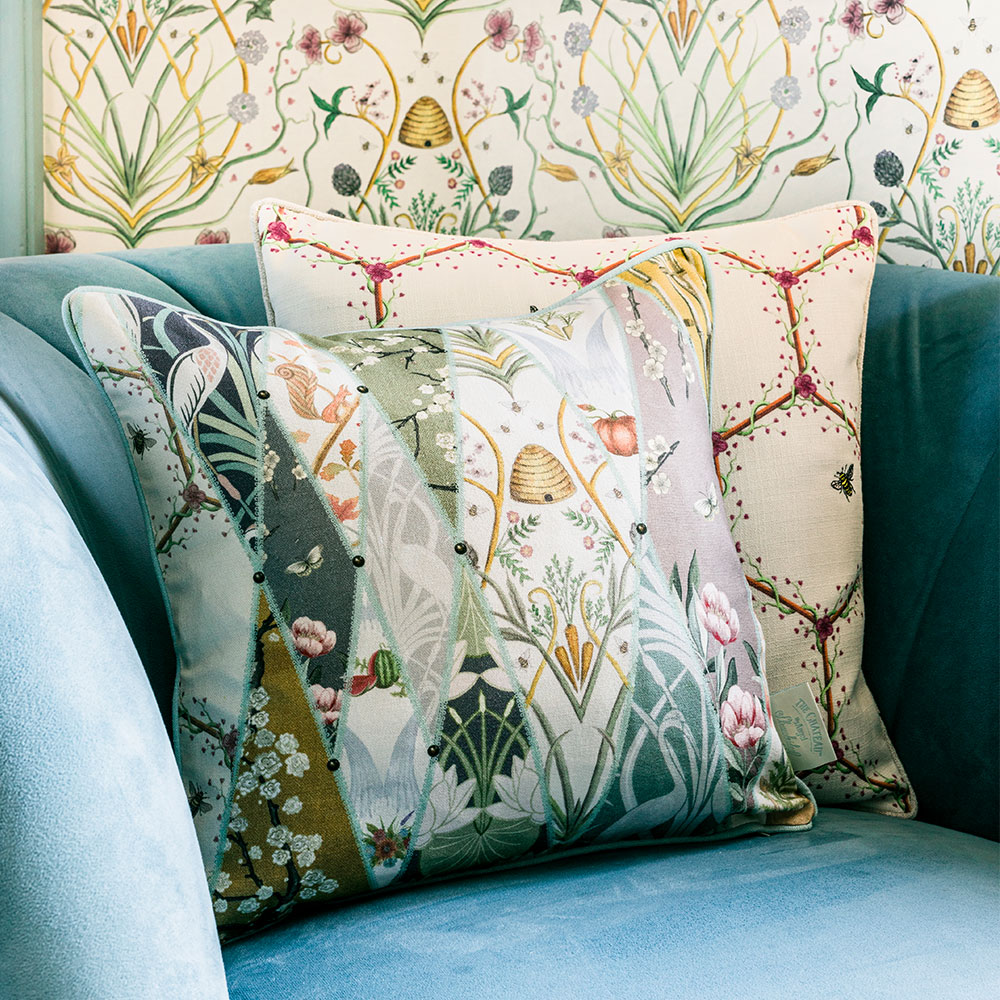Nouveau Wallpaper Cushion - Multi - by The Chateau by Angel Strawbridge