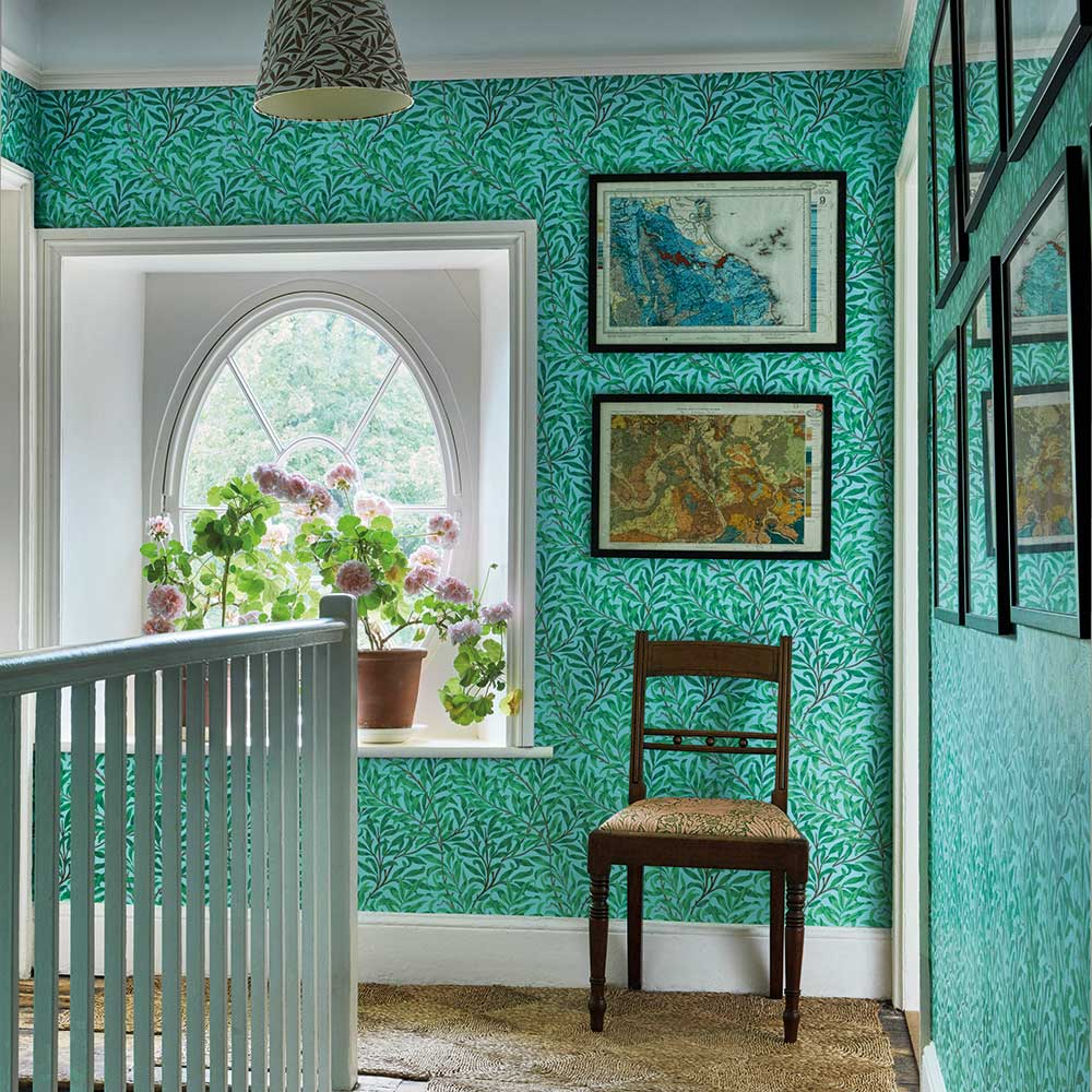 Willow Bough Wallpaper - Sky / Leaf Green - by Morris