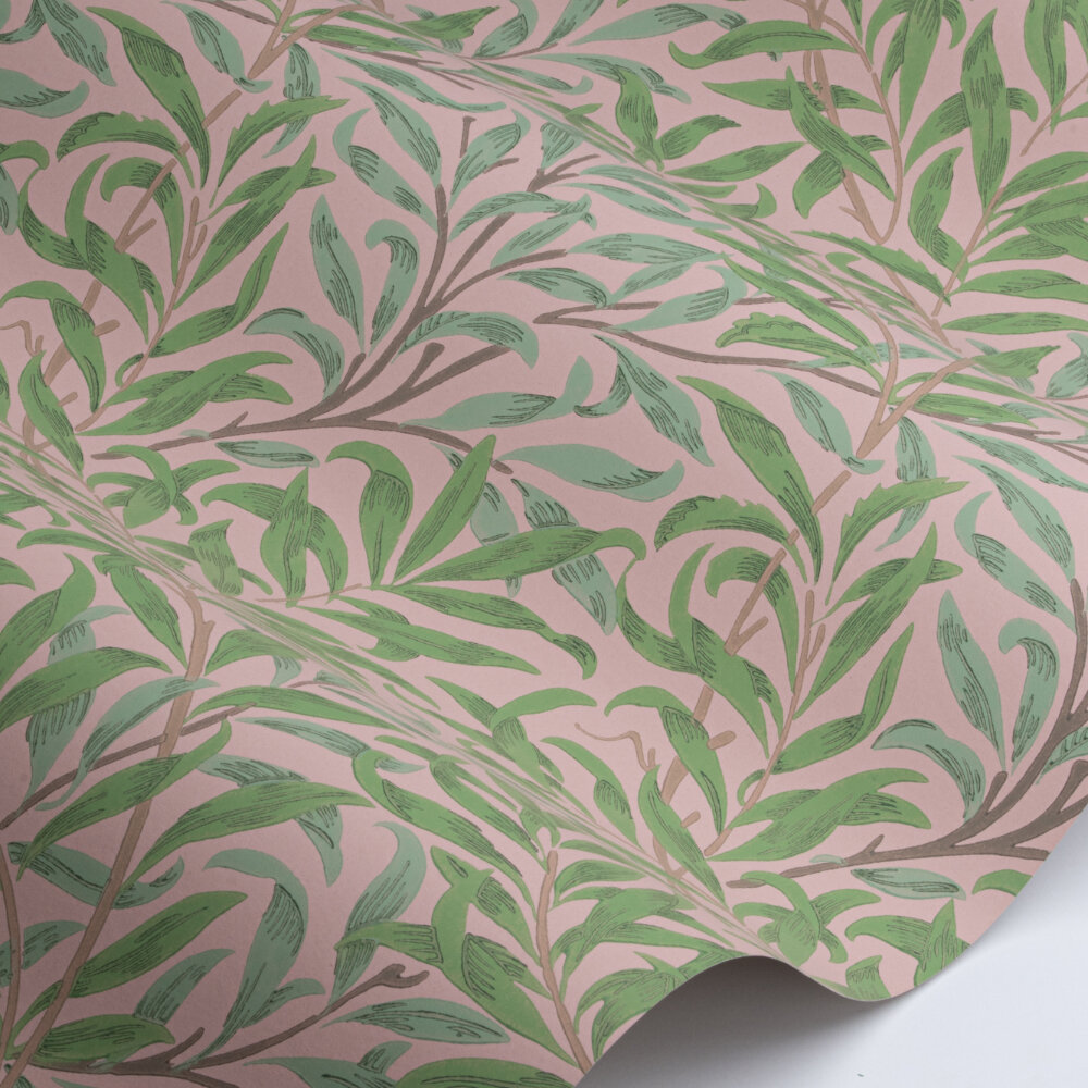 Willow Bough Wallpaper - Pink / Leaf Green - by Morris