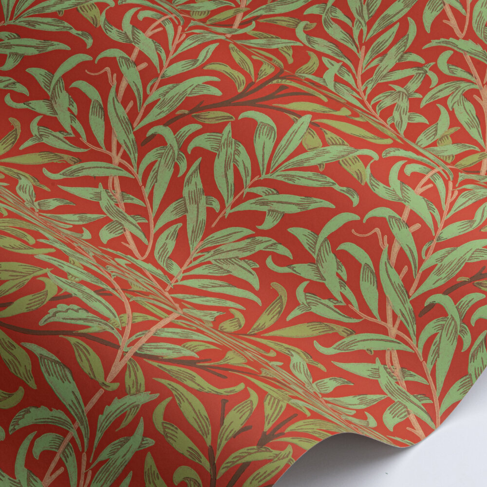 Willow Bough Wallpaper - Tomato / Olive - by Morris