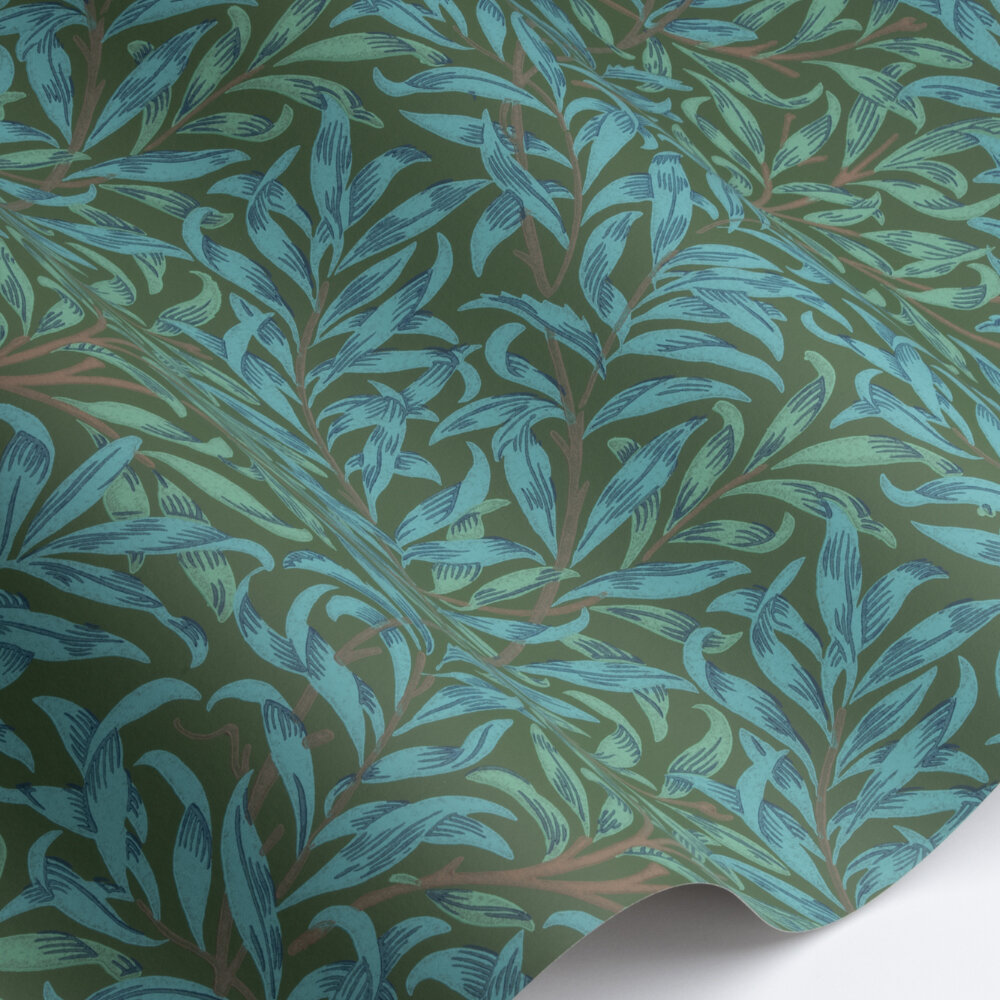 Willow Bough Wallpaper - Olive / Turquoise - by Morris