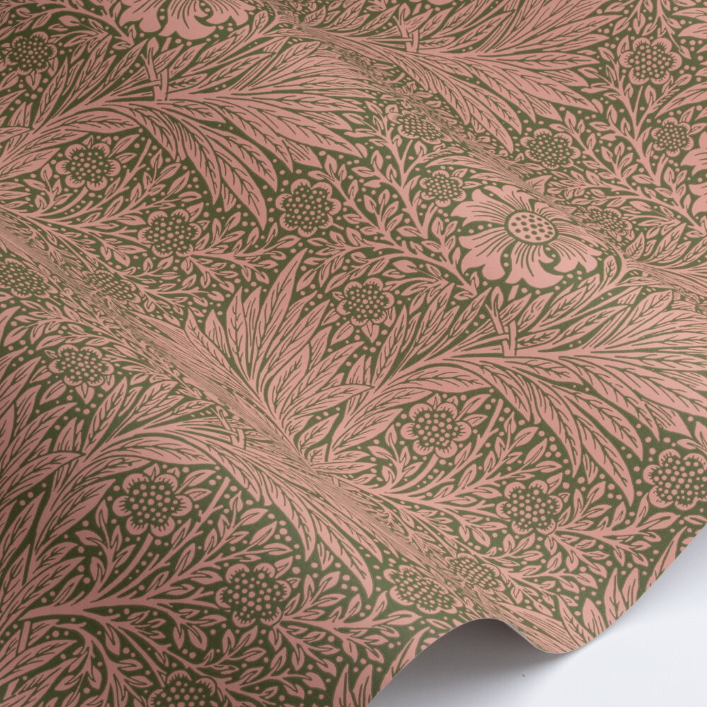 Marigold Wallpaper - Pink / Olive - by Morris