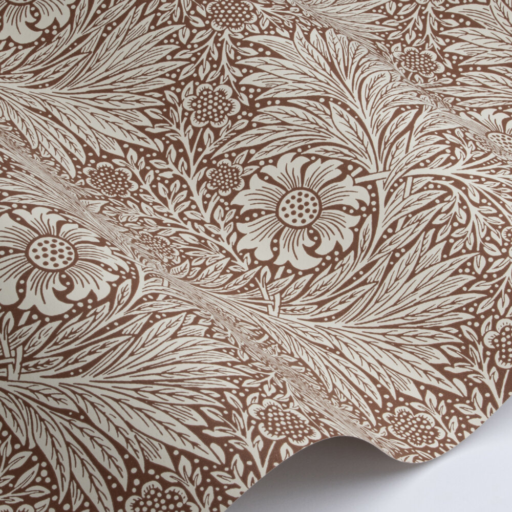 Marigold Wallpaper - Chocolate / Cream - by Morris