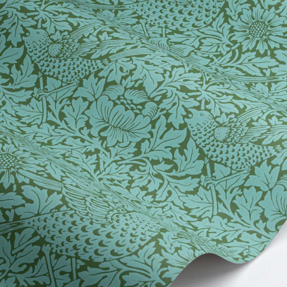 Bird & Anemone Wallpaper - Olive / Turquoise - by Morris