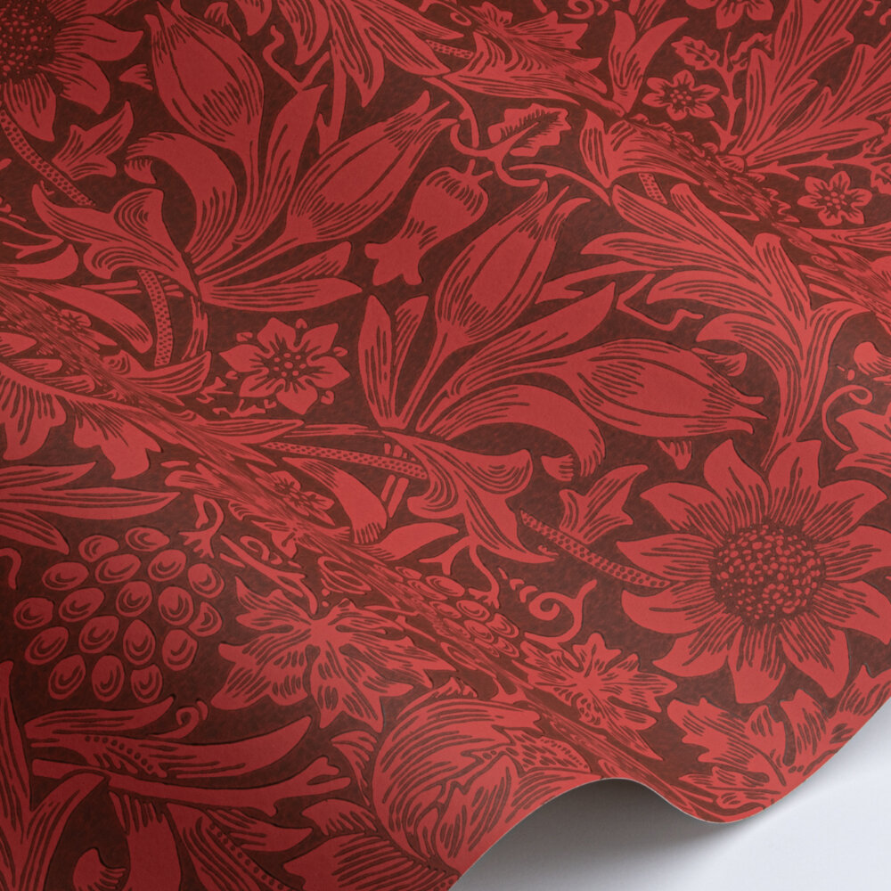 Sunflower Wallpaper - Chocolate / Red - by Morris