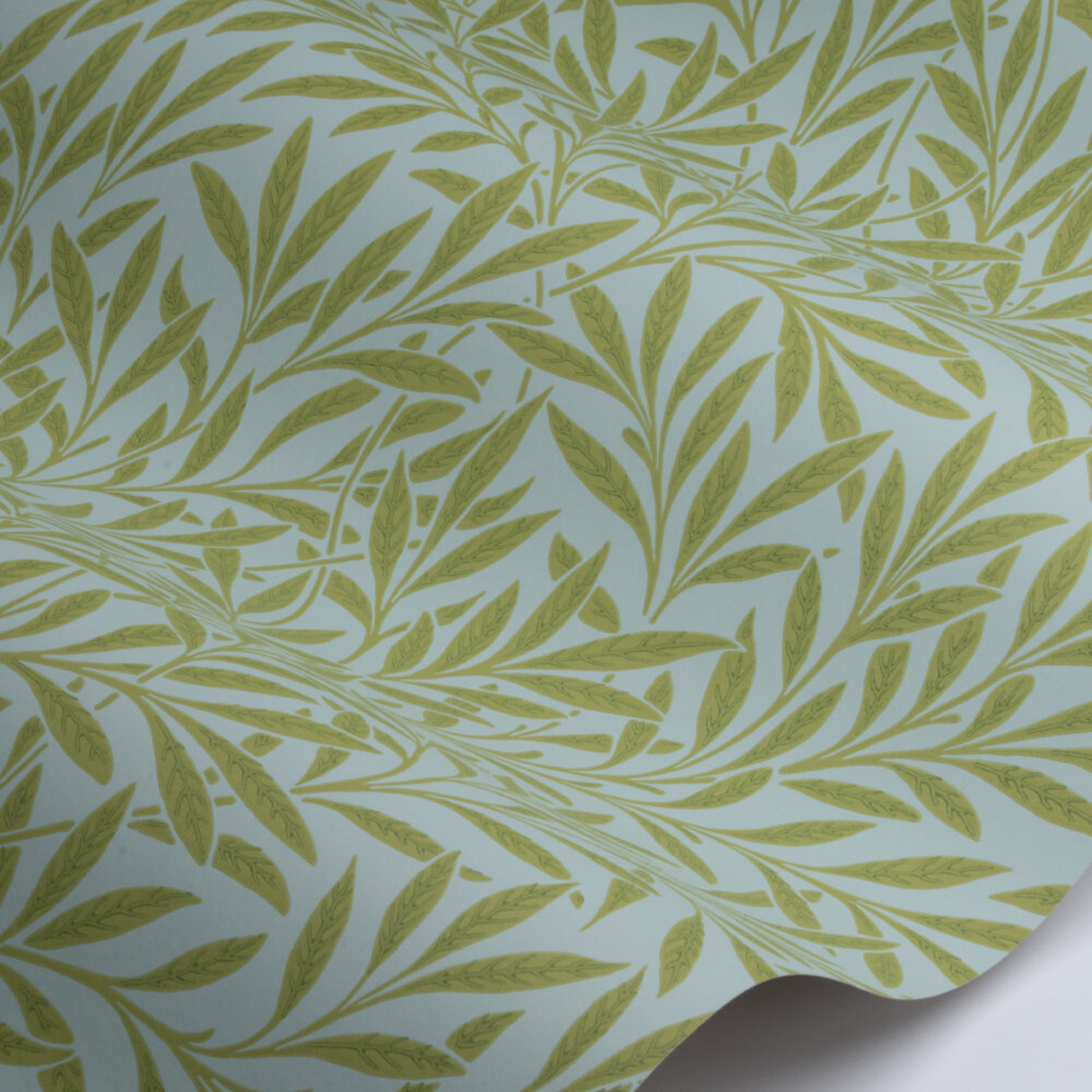 Willow Wallpaper - Sky / Leaf Green - by Morris