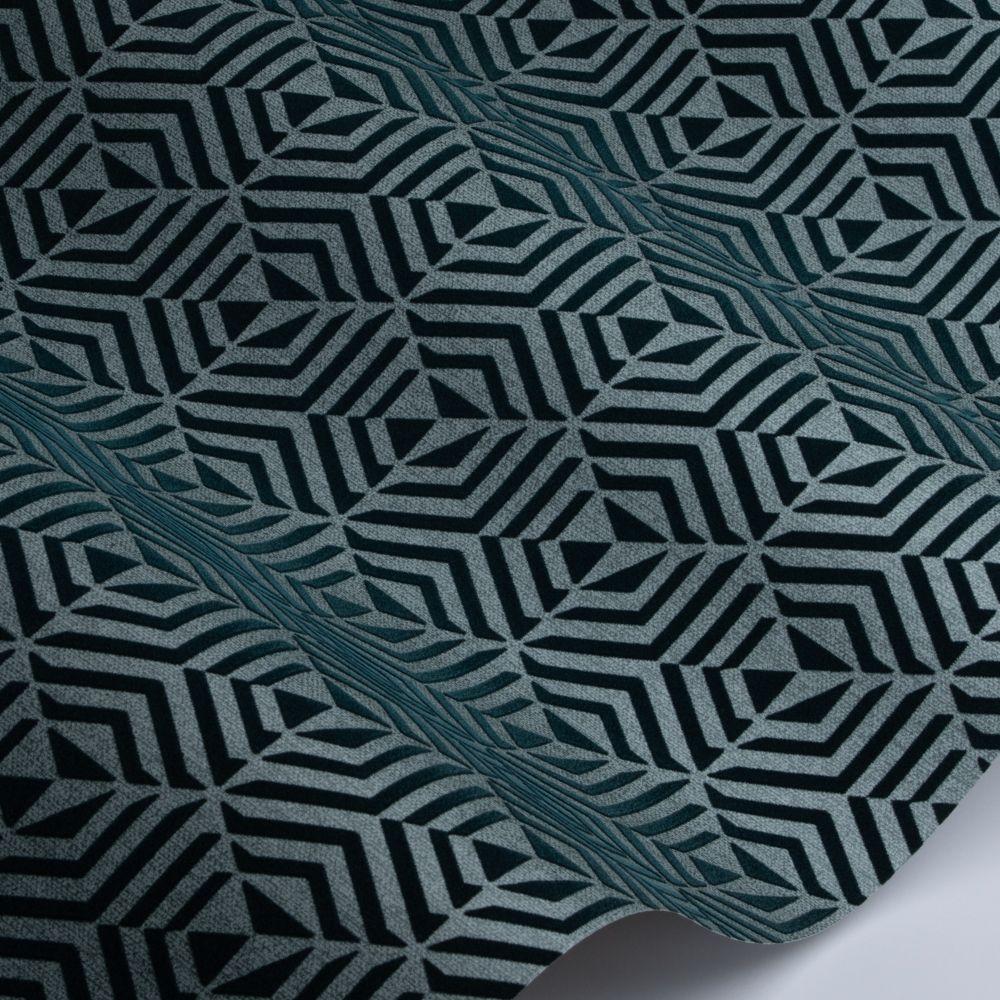 Architect Flock Wallpaper - Teal - by SketchTwenty 3