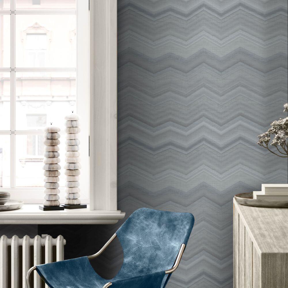 Fleuve   Wallpaper - Wedgewood Blue - by SketchTwenty 3